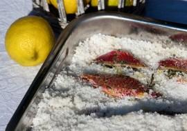 Filets de rouget au gros sel